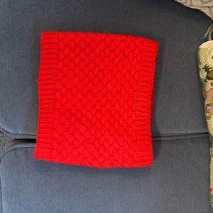Red knit neck warmer, fleece lining